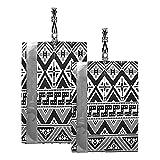 Hunihuni - Bolsa de viaje para zapatos con cremallera, diseño geométrico tribal azteca, impermeable, portátil, organizador de zapatos con cremallera, 2 unidades
