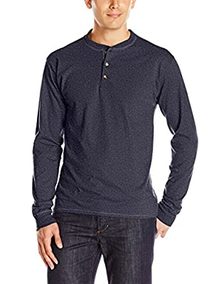 Hanes mens Long Sleeve Beefy Henley Shirt Hanes Navy Heather 3X-Large