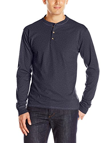 Hanes Men's Long-Sleeve Beefy Henley T-Shirt - Medium - Hanes Navy Heather