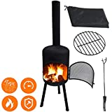 """4-in-1 Modern Steel Chiminea Set - Durable Wood Burning Fire Pit - Easy Assembly Large 63.5"""" Black Fireplace - Waterproof Rain Cover, Mesh Door, Log Grate, Poker - for Patio Outdoor Backyard (Black)"""