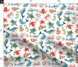 Spoonflower Fabric - Sea Animal Animals Ocean Creatures Dolphin Whale Clown Fish Turtle Printed on Fleece Fabric by The Yard - Sewing Blankets Loungewear and No-Sew Projects