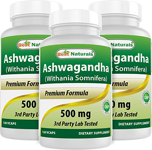 3 Pack - Best Naturals Ashwagandha Capsules for Relaxing Stress and Mood, 500 mg, 120 Count (Total 360 Capsules)