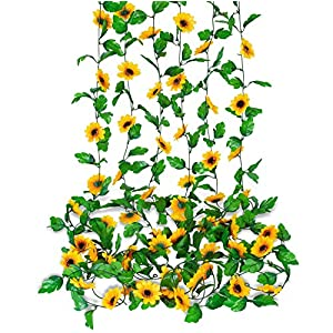 Ouddy 6 Pack 7.8 Ft Sunflower Garland Artificial Flowers Hanging Vines Silk Flower Garland with Green Leaves for Wedding Home Party Decor