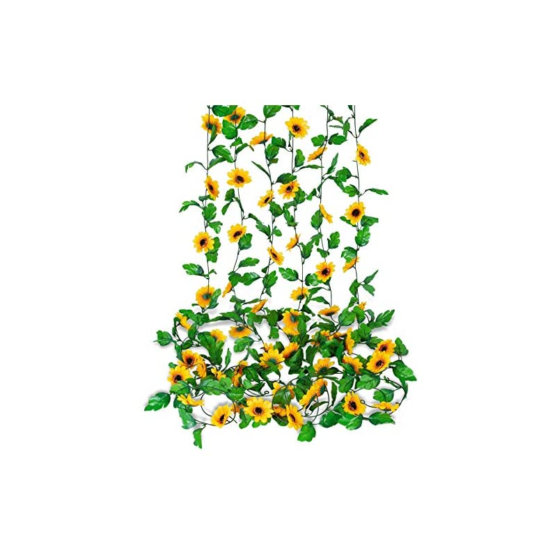 silk flower arrangements 6 pack 7.8 ft sunflower garland artificial flowers hanging vines silk flower garland with green leaves for wedding home party decor