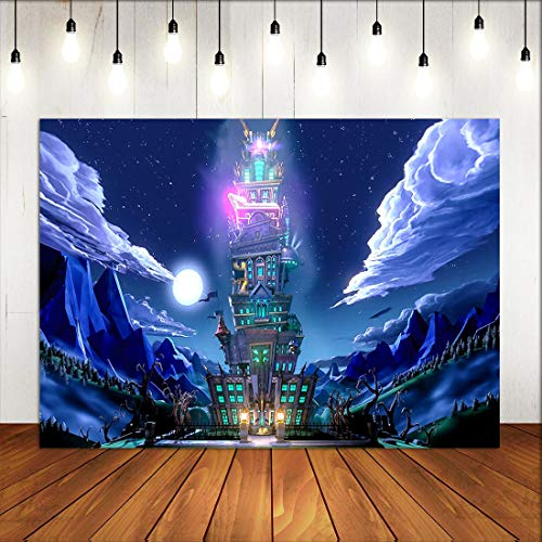 Night Moon Mansion Scene Mario Themed Photography Backdrop for Game Party Supplies Birthday Party Banner Photo Booth Background Room Decorations Wallpaper Poster Picture Vinyl 5x3ft
