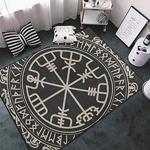 Black Celtic Viking Area Rug Non-Slip Carpets Floor Mat for Living Room Bedroom Home Decoration 4'x5.2'