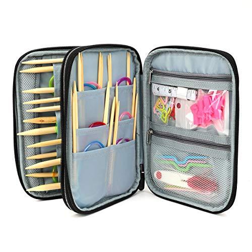 18 Pairs Circular Knitting Needles Set, Bamboo Tube Circular Colorful Crochet Needles with Storage Bag, Weaving Tools Pack for Beginner