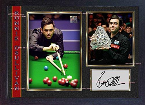 SGH SERVICES Poster Ronnie O'sullivan, mit Autogramm, Weltmeister Snooker, gerahmt, MDF-Rahmen