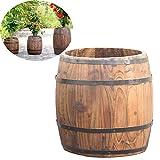 CJSWT Pot De Fleur en Bois,Planteur De Tonneau De Vin Plant Planteur Complet De Tonneau De Vin Box BoîTe De Jardin SuréLevéE en Bois pour JardinièRe pour Fleur VéGéTale, 40 * 35 * 28cm