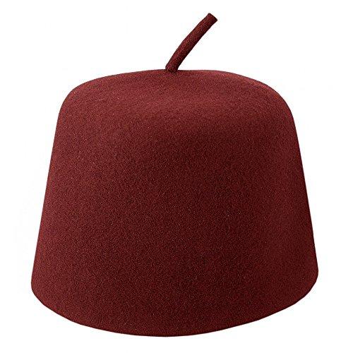 Village Hats Chapeau Fez Bordeaux avec Appendice Large