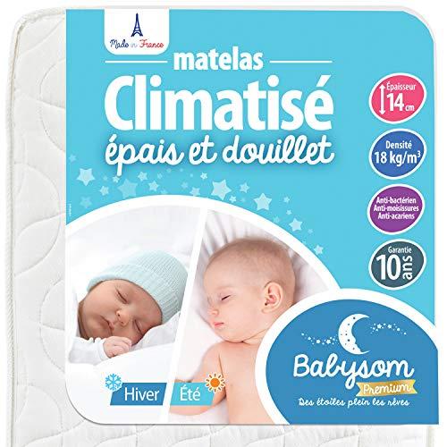 Babysom - Matelas Bébé Climatisé - 70x140 cm | Réversible : 1 Face Été Fraîche et 1 Face Hiver Ouatinée | Anti-acarien | Épaisseur 14 cm | Oeko-Tex | Fabrication française