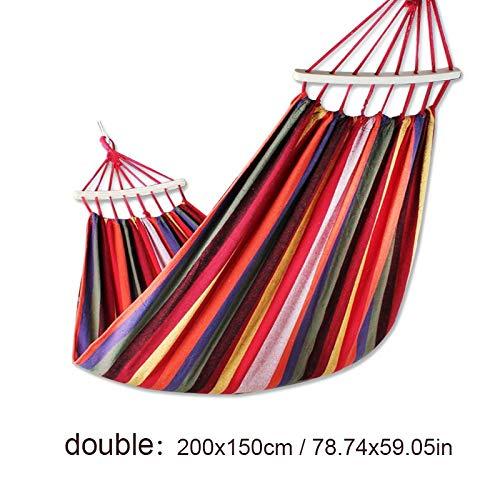 Bureze METIME Hangmat met stok Tweepersoons Tuinschommel Slaapbed Draagbaar Buiten Camping Tuin hangstoel