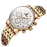 ZLSP Manera de Las Mujeres señoras de los Relojes de primeras Marcas de Lujo del cronógrafo del Deporte del Acero Reloj de Cuarzo Mujeres Negro Impermeable Reloj Pulsera (Color : Rose Gold)
