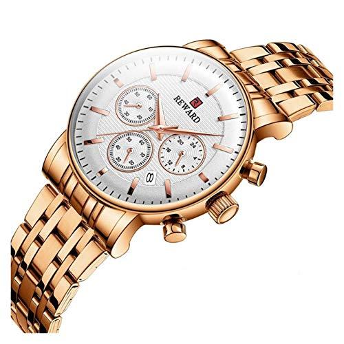 JCCOZ-URG Manera de Las Mujeres señoras de los Relojes de primeras Marcas de Lujo del cronógrafo del Deporte del Acero Reloj de Cuarzo Mujeres Negro Impermeable Reloj Pulsera URG