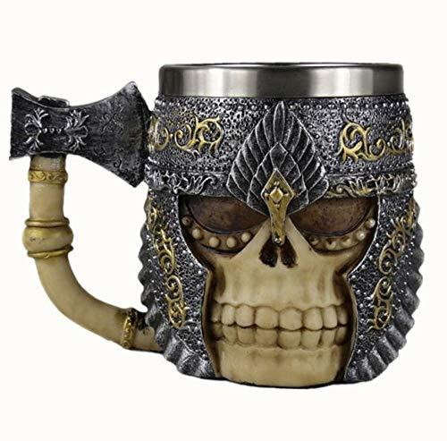 Mok schedel met bijl handvat, 3D-roestvrij staal kopje koffie met gemaskerde ridder vorm, gemakkelijk te reinigen koffie cup cup, uniek cadeau