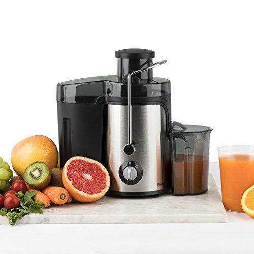 Winkel Extracteur de Jus de fruit et légumes vertical compacte 1.2L SX9, Acier Inoxydable, Centrifugeuse Sans BPA, Rotation Lente 2 Vitesses, Puissante 400W, Système Anti-gouttes