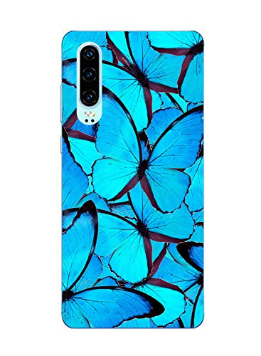 Oihxse Funda Conpatible con Realme 5 Pro Silicona Transparente Dibujos Mariposa Cover Suave TPU Gel Cristal Clear Delgada Anti- Arañazos Protección Carcasa Case,Azul 2