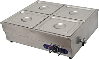 Techtongda 4-Pan Counter Top Warmer Bain-Marie Buffet Food Warmer 110V 1500W