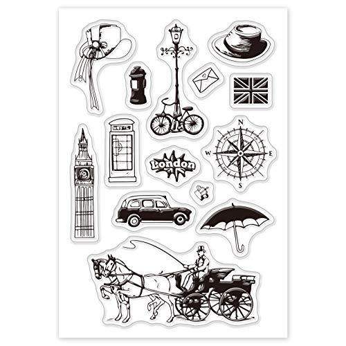 GLOBLELAND Sellos Transparentes de Estilo Británico Tarjetas de Sellos de Silicona Torre de Londres Carruaje Sellos Transparentes para Hacer Tarjetas Decoración Y Álbumes de Recortes de Bricolaje