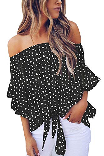 Sexy polka dot printed off the shoulder tops,you will never out of style for this classic pattern,a perfect gift for your friends,roomate and yourself. Polka dot printed off the shoulder blouses with self tie knot front,meet your fashion taste! Casua...