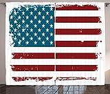 ABAKUHAUS Raya de la Vendimia Cortinas, Sucio de la Vie EE.UU, Sala de Estar Dormitorio Cortinas Ventana Set de Dos Paños, 280 x 245 cm, Borgoña Azul Petróleo