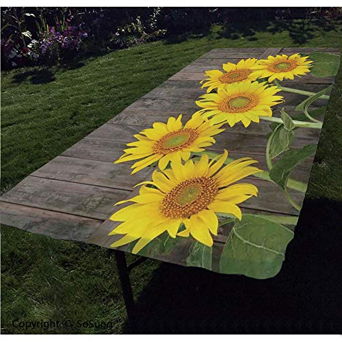 Sunflower Decor Polyester Fitted Tablecloth,Helianthus Sunflowers Against Weathered Aged Fence Summer Garden Photo Print Rectangular Elastic Edge Fitted Table Cover,Fits Rectangular Tables 60x30 Brow