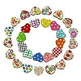 100 Multicolor en Forma de corazón 2 Agujeros Botones de Co