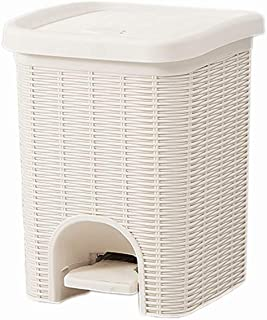 Poubelle à pédale carrée - Poubelle compacte de Style rotin pour Petits espaces / 6L, 10L (Color : White, Size : 6L)