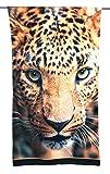 Tex family Toalla de playa de rizo con estampado de leopardo, tamaño grande, 90...