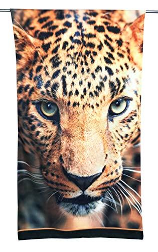 Tex family Toalla de playa de rizo con estampado de leopardo, tamaño grande, 90 x 170 cm