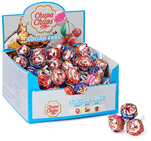 Lot de 50bonbons Chupa Chups Sugar Free Lolly, aux saveurs assorties.