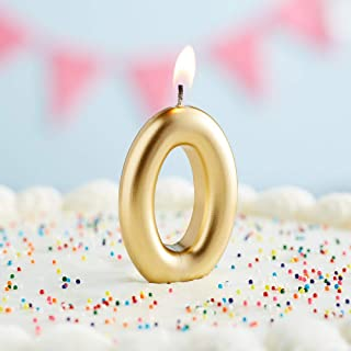 Creative Converting Numeric Birthday Candle #0, Gold