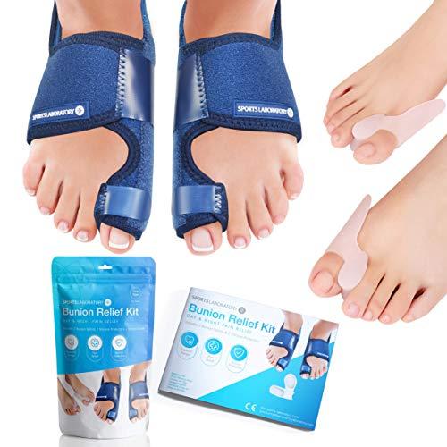 Sports Laboratory Bunion Correctors Day & Night Kit, 2X Bunion Splints and 2X Big Toe Gel Straighteners, Free Bunion Relief Guide, BunionHallux