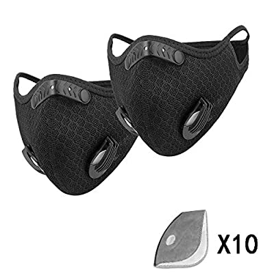 Reusable Earloop Face Shield with Activated Carbon Filter and Valves for Allergy, Cycling protection Woodworking, Mowing, Outdoor Activities, Etc?Black?