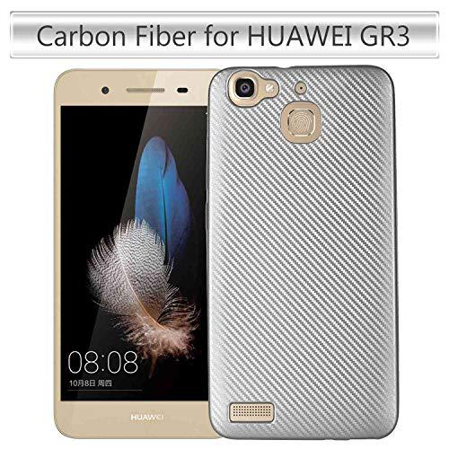 JEEXIA® Hülle Für Huawei GR3, Stoßfestes Etui aus Rutschfestem Weiches Silikon TPU Case Kratzfeste Kohlefaser Schutzhülle - Silber