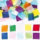Cuadraditos de papel de seda en 1 colores variados, 38 x 38 mm, actividades de manualidades infantiles, tarjetas y álbumes de recortes (pack de 4).
