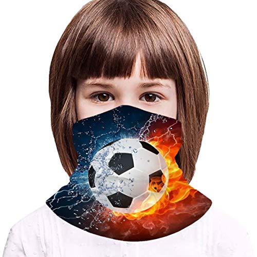 Turquoise Soccer Boys Bandanas for Dust Girls Neck Gaiter Kids Face Cover Magical Multi Funtion Uv Protection Seamless Scarf Reusable Half Face Protective Funtion Balaclava