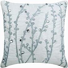 Designer White Cushion Cases, Contemporary Floral Cushions Cover, 30 x30 Cushion Covers, Art Silk Square Cushion Covers, W...