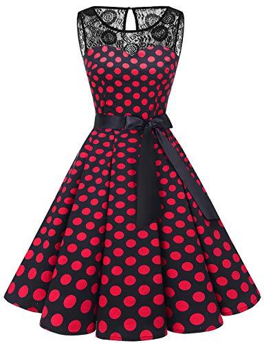 Bbonlinedress Vestido Mujer Corto Fiesta Boda Encaje Sin Mangas Black Red BDot S