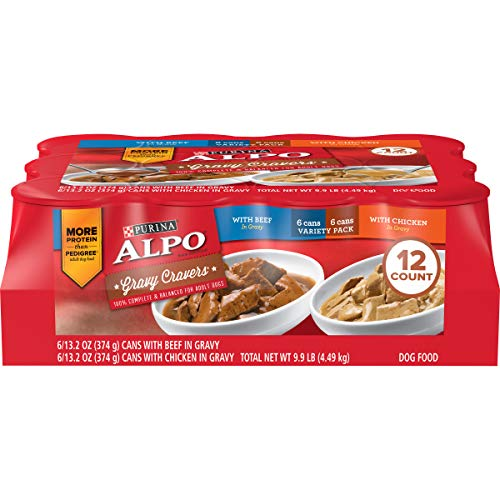 Purina ALPO Gravy Wet Dog Food Variety Pack, Gravy Cravers With Beef & With Chicken - (12) 13.2 oz. Cans, 011039