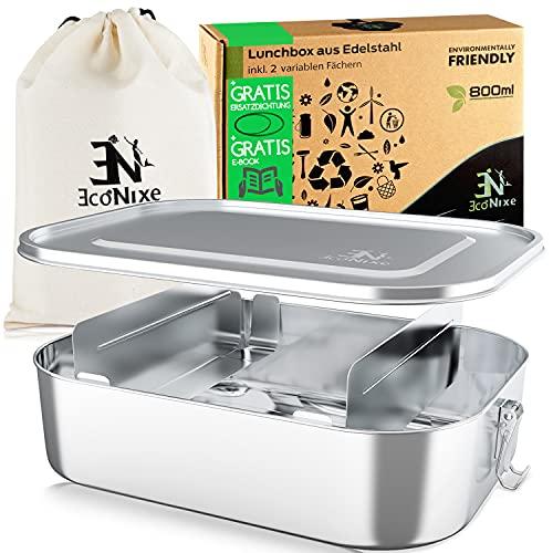 Econixe® Edelstahl Brotdose [800ml] für Kinder inkl. 2 Fächern & gratis Ersatzdichtung - Unsere Lunchbox Erwachsene mit Trennwand ist auslaufsicher - Frischhaltedose klein inkl. Ebook