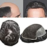 FACE MIRACLE French Lace Front Mens Toupee Hairpieces Poly Skin PU Natural Hairline Human Hair Replacement Wig (6'8', 1B30# 1B# OFF BLACK WITH 30% SYNTHETIC GREY-120% Medium Light to Medium Density)