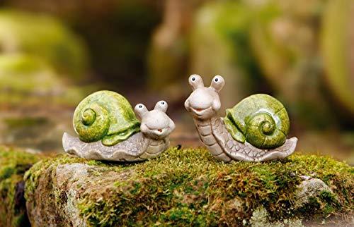 2er Set Schnecke Be Happy aus Terracotta, bemalt, Garten Deko Figur