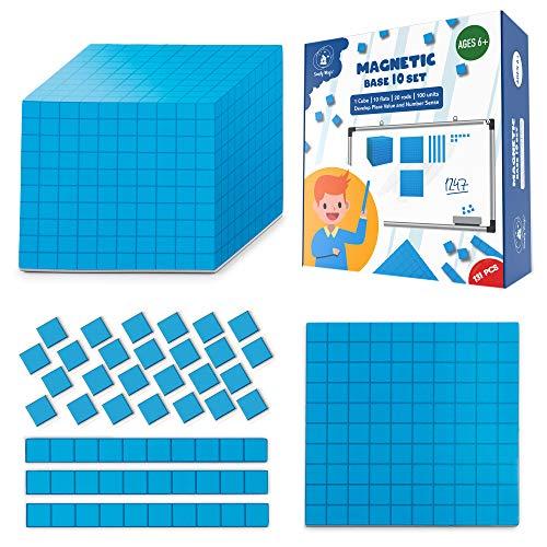 131 PCS Jumbo Magnetic Base Ten Blocks – Place Value Blocks...