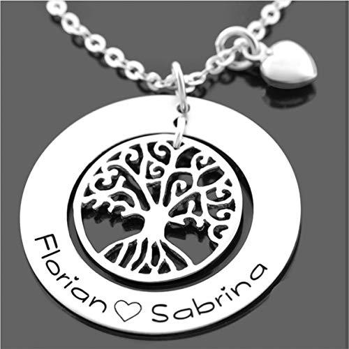 Namenskette Silberkette 925 Silber mit Gravur Namensgravur ❤️ Gravurschmuck Namensschmuck Koordinaten ❤️ Baum Lebensbaum Anhänger Ankerkette | HANDMADE IN GERMANY