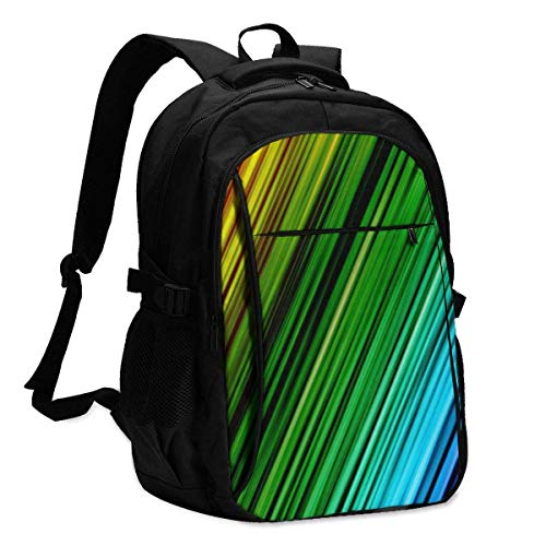 asfg Colored Lines Multifunctional Personalized Customized USB Backpack, Student School Outdoor Backpack,Travel Bag Laptop Bookbags Business Daypack.