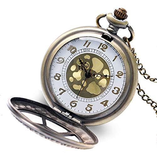 ZJZ Taschenuhr Taschenuhr Herren Vintage Retro Bronze Uhren Halskette Quarzuhr Blumengeschenke