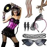 LOPOTIN 6pcs Collar 80s, Diadema de Encaje Negro 80S, Guantes de Malla negro sin dedos, Medias Neon Malla, accesorio disfraz 80s, Gafas de persanias para Disfrazarse en Carnival Fiestas Escenario.