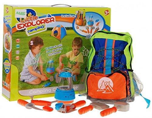 BSD Pequeño Explorador Camping Conjunto 008-80 C - Herramientas Conjunto de Juguete para niños con Linterna - Mochila con útiles
