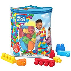 80 classic-coloured building blocks, including special shapes Perfect for little hands ​Hands-on play for early childhood development Storage bag for easy cleanup Combine with other Mega Bloks preschool toys and build them up